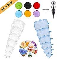 Tapas de silicona, tapas de silicona Elásticas, 12 tapas de silicona Ajustables Extensibles adecuadas para tazones, latas, vasos, etc. - Sin BPA (círculo azul, rectángulo blanco)