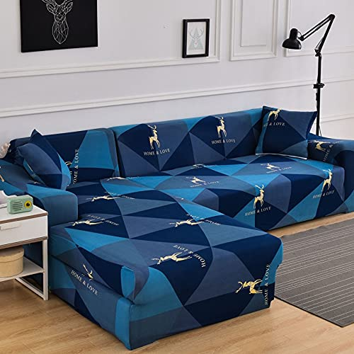 WXQY Funda de sofá de Esquina en Forma de L combinación Antideslizante Funda de protección de sofá elástica Funda Protectora de sofá de protección para Mascotas A3 2 plazas
