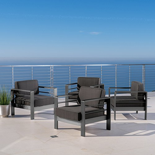 Christopher Knight Home Crested Bay Patio Furniture | Outdoor Grey Aluminum Club Chairs with Dark Grey Water Resistant Cushions (Set of 4)