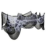 Black Creepy Cloth 30 Inches x 8.75 Yards and 2.1 Ounces Spider Web White Cob Webs with 10 Pack Plastic Spiders for Halloween Haunted Houses Party Decorations