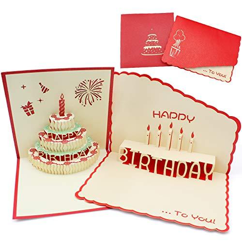 YunBey 2 Stück 3D Pop-up Faltbare Geburtstagskarte Spezielle Geburtstagstorte Grußkarte Kreative Grußkarte Handgemachte Grußkarte für Freunde Familie Liebe