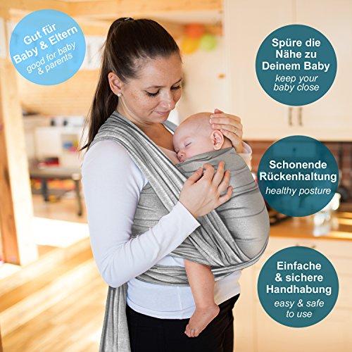 Hochwertiges Baby-Tragetuch – Hellgrau – Neugeborene bis 15 kg – Baumwolle-Sling - 2