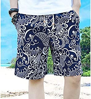 HAYQ Hot 2020 Outdoor Summer Water Sports Beach 100% cotton Slim Fit Drawstring mens swimming board shorts bermuda surf Short trouser (Color : Ivory, Size : 4XL)