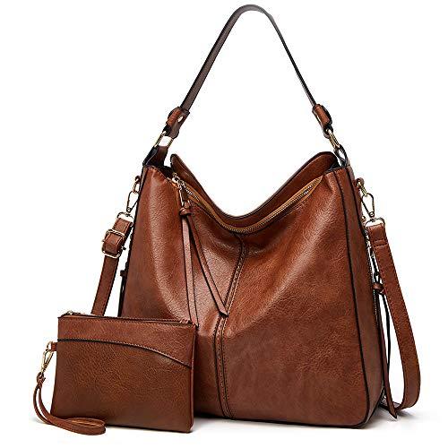 Lecxci Women Tote Bag Handbags Leather Fashion Hobo Shoulder Bags with Adjustable Shoulder Strap (2pcs Purse Set ) (Brown)