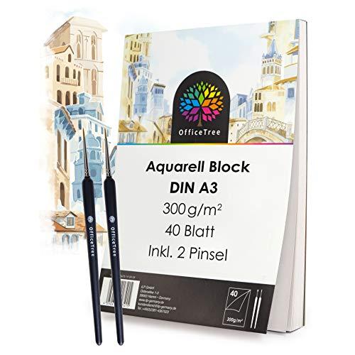 OfficeTree Papel de Acuarela A3-40 Hojas 300 gr/m2 - Bloc de Dibujo para Acuarela - Papel para Acuarelas y Pintar - 2 Pinceles Gratis