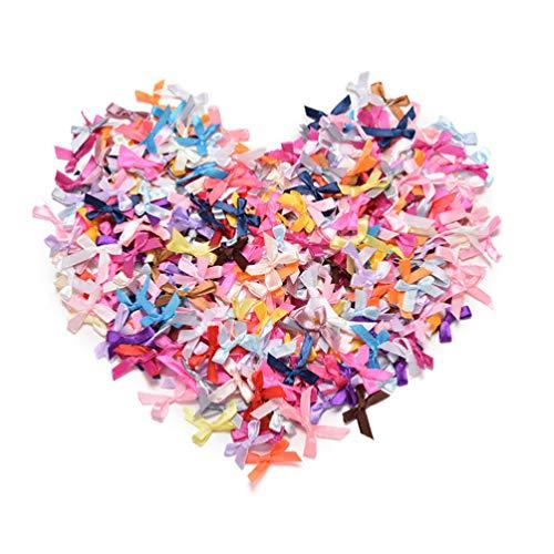 Artibetter - Lote de 200 mini lazos de satén para decoración de boda, color mixto