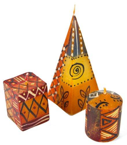 Afrika-Deko 3er Kerzenset Bongazi Nobunto handbemalt aus Afrika handgefertigte afrikanische Kerze