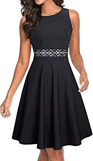 TWGONE Sleeveless Dresses for Women Knee Length Cocktail A-Line Embroidery Party Summer Wedding Guest Dress