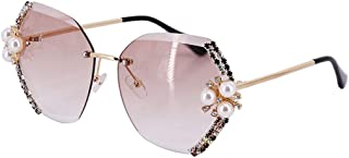 Testudineus Women Stylish Oversized Rimless Gradient Diamond Cutting Lens Sunglasses