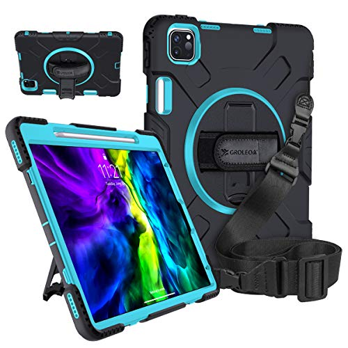 GROLEOA iPad Pro 11 Case 2nd Gen 2020/2018 with Pencil Holder Support Charing, 3 Layer 360 Rotating Heavy Duty Rugged Protective Shockproof iPad Cover Stand Hand Strap Shoulder Strap Sky Blue