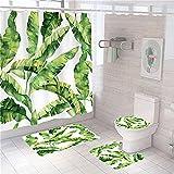 MOUPSDT 4-teiliges Duschvorhang-Set Apfelgrüne Blätter mit rutschfesten Teppichen, Toilettendeckel & Badematte, mit 12 Haken,wasserdichter Stoff-Duschvorhang 180x200 cm