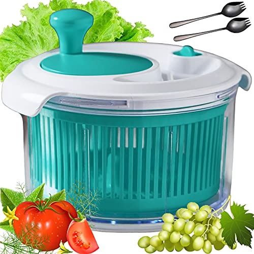 PREMIUM Salad spinner, salad spinners best rated MEDIUM SIZE with POWERFUL mechanical wheel and 2pcs of fork spoons for fast salads prep-Diameter 8.5 INCH