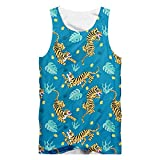 JCNHXD --*--Men 'S Plus Size Sleeveless Shirts Tiger 3D Printed Tank Tops Casual Plus Size Vest Tiger 4xl