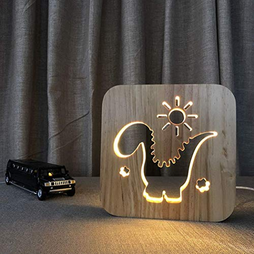 3D Wooden Carved Night Light LED Desk Lamp Animal Dinosaur Sun R Shape Edging Table Lamp Bedside Light Creative Print Lamp Bedroom Nursery Decoration for Kids Adults Christmas New Year Gift