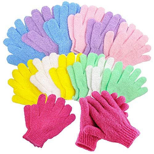 14 Pairs Exfoliating Gloves(7 Colors),Deep Cleansing Bath Gloves for Men and Women,Shower Scrub Gloves for Spa,Massage and Body Scrubs