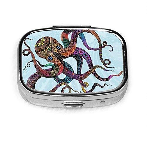 Octopus Fashion Square Pastillero Vitamina Medicina Soporte para tableta Cartera Organizador Estuche