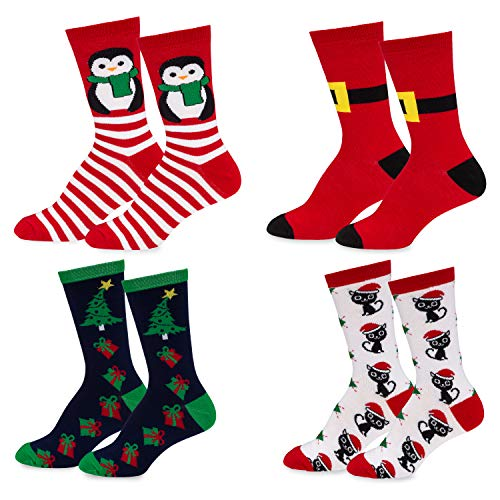 Mens & Womens Fun Novelty Holiday Christmas Hanukkah Crew Socks-4 Packs- One Size Fits Most (One Size Fits Most (Shoe-4-10), 4 Pair Crews Penguin/Cat/Santa Buckle/Presents)