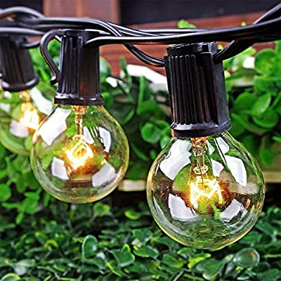 SkrLights 100 FT Globe String Lights G40 with 100 Clear Bulbs G40 Indoor Outdoor Lighting Garden Fairy Backyard Market Xmas Holiday Patio Wedding Party String Lights