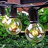 SkrLights 100 FT Globe String Lights with 102 G40 Globe Clear Bulbs G40 Indoor Outdoor Lighting Garden Fairy Backyard Market Xmas Holiday Patio Wedding Party String Lights -Black Wire