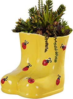 Yellow Boots Planter Lady Bug Accent Flower Pot Ceramic Garden Landscaping Container Storage Box Fun Cachepot Herb Cactus Succulent Plant Holder Stand Decor