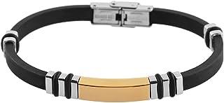 Brillibrum ID armband gummi rostfritt stål med gravyrplatta silver guld läderarmband svart partner-smycke vänskapsarmband ...