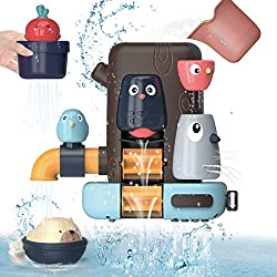 🛀[Let Kids Fall in Love with Bathing]The child can pour water into the sink with the cup. The gear will rotate with the water and form 4 small waterfalls.Rotating woodpecker switch to control the closure of water flow,exercise baby's basic motor skil...