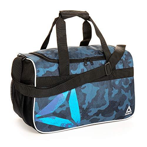 Reebok Warrior II Small Gym Bag for Men and Women, Compact Sports Duffle Bag (Blue Camo)