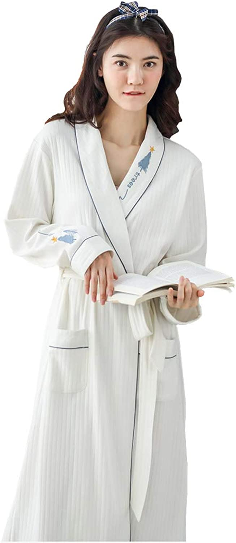 Long Sleeve Women's Bathrobe Thin Cotton Sexy Long Cute White Bathrobe