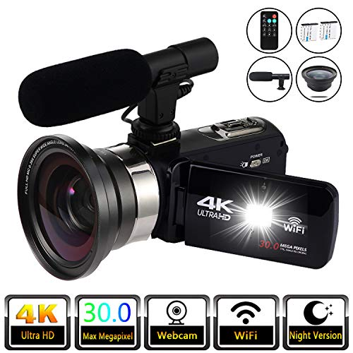 Buy Bargain Video Camera 4K Digital Camcorder Video Recorder YouTube Vlogging WiFi Camera 30.0MP Web...