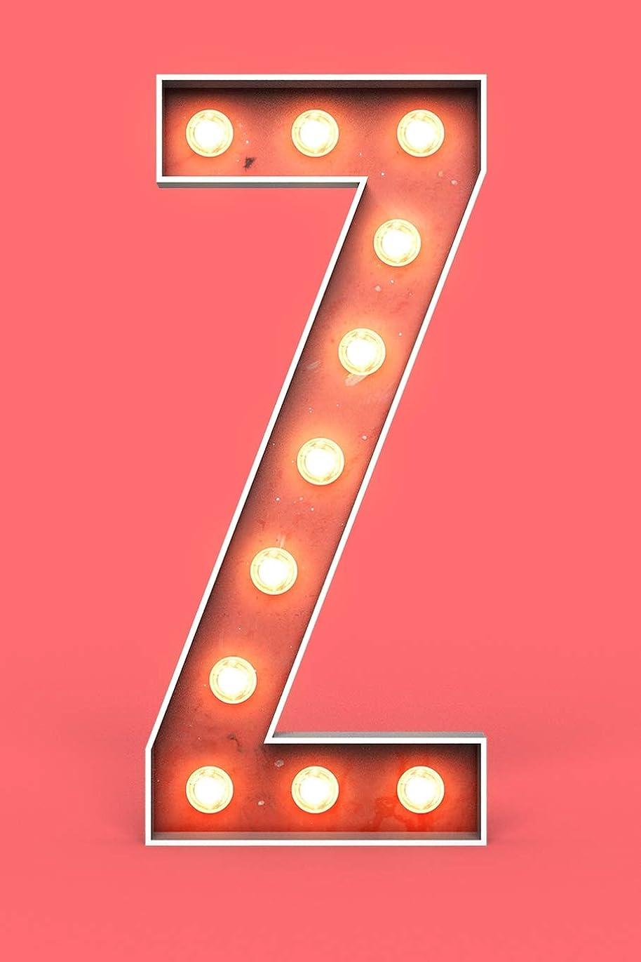 首知的隣接Z: Marquee Cinema Neon Light Bulb Sign Monogram Letter Z Initial Personalized Living Coral Softcover Note Book Diary | Lined Writing Journal Notebook | Pocket Sized | 200 Pages | Marquee Books