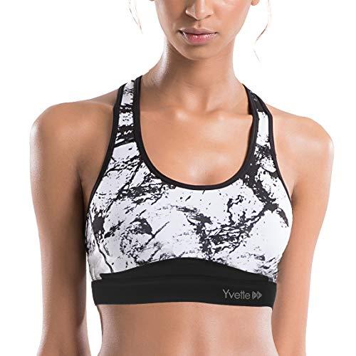 Yvette Damen Starker Halt Sport BH Gekreuzt Rücken Große Größen Ohne Bügel Bustier für Fitness Lauf Yoga, Splash Tinte,Schwarz,XL(D-F) fit 90D 90E 90F