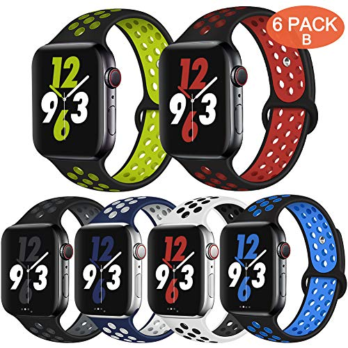 OriBear Compatible for Apple Watch Band 42mm 44mm, Breathable Sporty for iWatch Bands Series 5/4/3/2/1, Watch Nike+, Various Styles and Colors for Women and Men(S/M,6 Pack B)