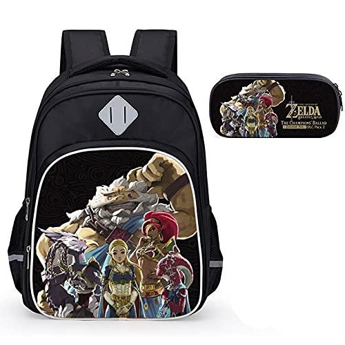 Mochila escolar Zelda 2 unids/lote The Legend Of Zelda Estuche para lápices The Legend Of Zelda Mochila de seguridad Mochila ultraligera de tres capas para niños