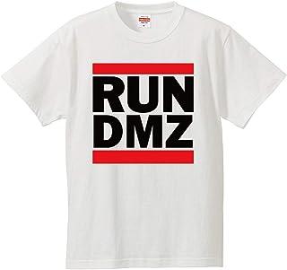 南堀江のおもしろtシャツ 「RUN DMZ(非武装地帯)」 ストリートスタイル 元ネタを教えたくなる おもしろ半袖Tシャツ ホワイト