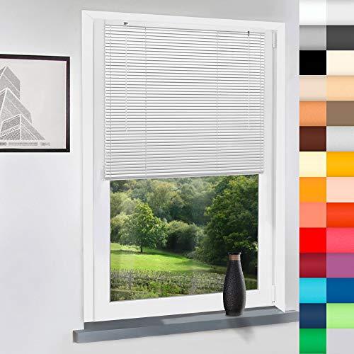 Sun World Aluminium Jalousie nach Maß, Jalousien Alu Jalousien nach maß innen Innenjalousien Maßanfertigung, für Fenster und Türen, Fenster, Klemmfix ohne Bohren (Weiß, Höhe: 200cm x Breite: 65cm)