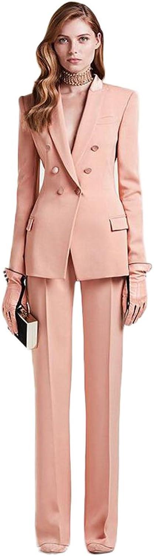 AK Beauty Women's Peak Lapel 3 Button Jacket Pant Suit Business Suit Wedding Suit
