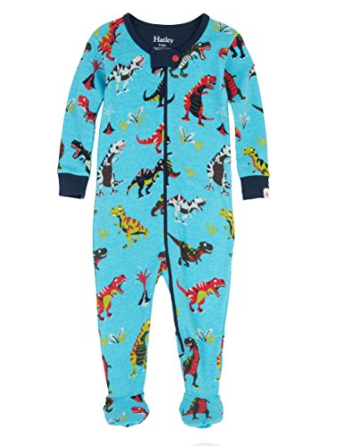 Hatley Organic Cotton Footed Sleepsuit Pyjama, Roaring T-Rex, 6 Mois Bébé garçon