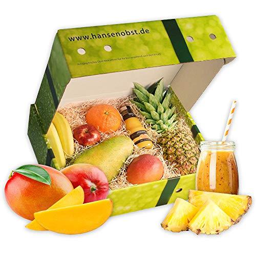 Obstbox Smoothie Exotic-Passion-Sunshine mit frischem Obst und Rezept für Smoothies in klassischer Geschenkbox