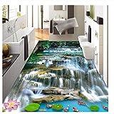 Lovemq 3 D Pvc Plancher Autocollant Mural Personnalisé 3D Montagne Cascades Carpe 3D Salle De Bains Revêtement De Sol Peinture Photo Papier Peint Pour Murs 3D-200X130Cm
