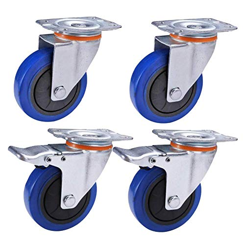 XHNXHN Ruedas de goma silenciosas ruedas de transporte industriales con freno giratorio universal para muebles, ruedas a prueba de polvo, doble cojinete de 3''/4'' / 5 pulgadas 320-440KG