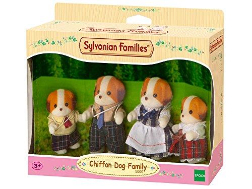 Sylvanian Families - Le Village - La Famille Chien Chiffon - 5000 - Famille 4 Figurines - Mini Poupées