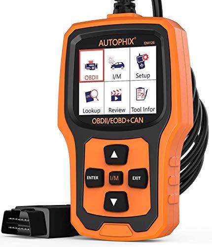 AUTOPHIX OBD2 Auto Diagnosegerät Universal OBD II Code Scanner Motordiagnose Werkzeug KFZ PKW Fehlerauslesegerät mit Sauerstoffsensortest (schwarz-orange)
