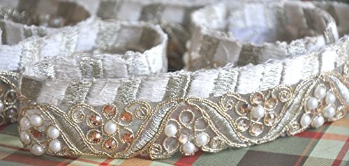 2 Yards Handmade Designer Golden Design Indian Sewing Trim Sequins Bedded with Pearls & Rhinestone Saree Border Lace Material by The Yard Bollywood Inspired, Wide Trim Lace