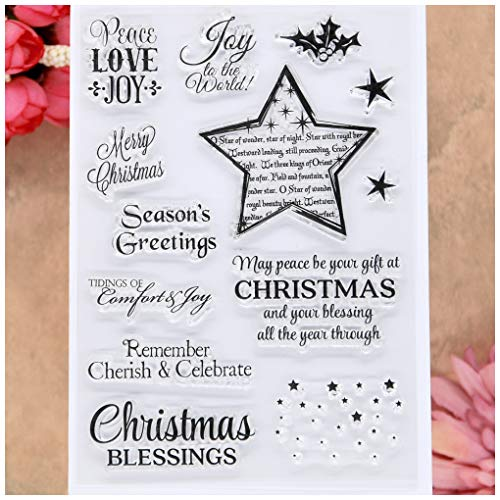 KWELLAM Merry Christmas Star Peace Love Joy to the world Clear Stamps for Card Making Decoration and DIY Scrapbooking