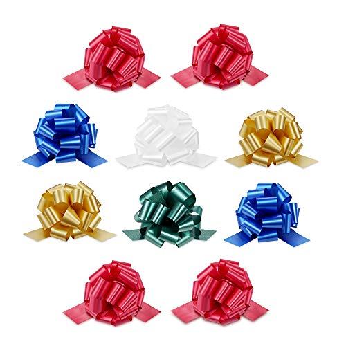 Zoe Deco Lazos de Regalo (5 Colores, 5 Pulgadas / 13 cm de diámetro, 18 Lazos, Paquete de 50), Lazos de Regalo Resistentes a la Intemperie, Lazos de tirón Coloridos y llamativos