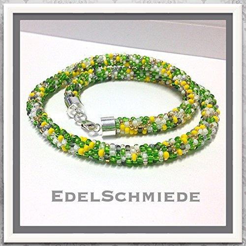 Halskette gehäkelt mit Glasperlen 925 Silber bunt 47 cm