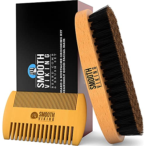 Beard Brush and Comb - Natural Boar Bristle Beard Brush & Beard Comb for Men - Facial Hair Care Gift Set for Men - Mustache Styling, Grooming & Shaping Tools