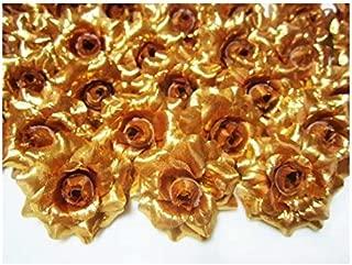 ICRAFY 24 Silk Gold Roses Flower Head - 1.75