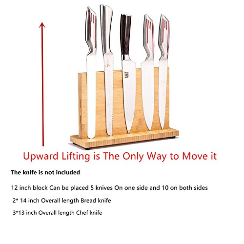 12 inch Magnetic Knife Block(Natural Bamboo),Knife Holder,Knife Organizer Block,Knife Dock,Cutlery Display Stand and Storage Rack,Large Capacity,Double Side Strongly Magnetic (12 inch)