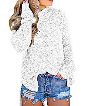Imily Bela Womens Fuzzy Knitted Sweater Sherpa Fleece Side Slit Full Sleeve Jumper Outwears White